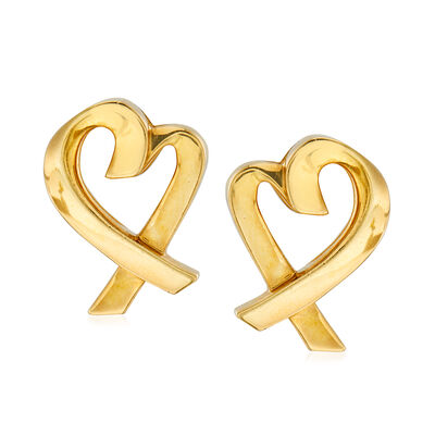 "C. 1990 Vintage Tiffany Jewelry ""Paloma Picasso"" 18kt Yellow Gold Heart Earrings, , default"