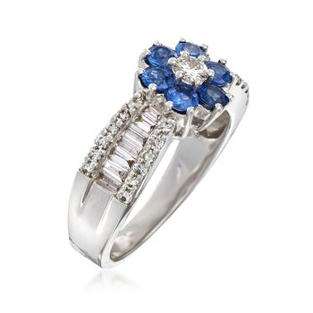 C. 2000 Vintage .95 ct. t.w. Diamond and .90 ct. t.w. Sapphire Flower Ring in 18kt White Gold. Size 6.5