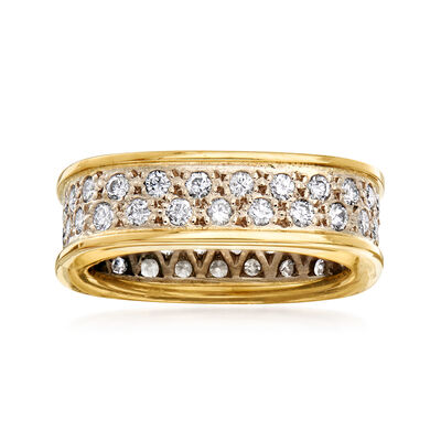 C. 1980 Vintage 1.25 ct. t.w. Diamond Square-Shaped Eternity Band in 18kt Yellow Gold