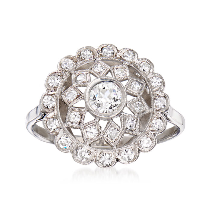 C. 1950 Vintage .65 ct. t.w. Diamond Openwork Dome Ring in Platinum. Size 7.75