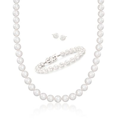 Mikimoto 7-8mm A1 Akoya Pearl Jewelry Set: Earrings, Necklace and Bracelet with 18kt White Gold, , default
