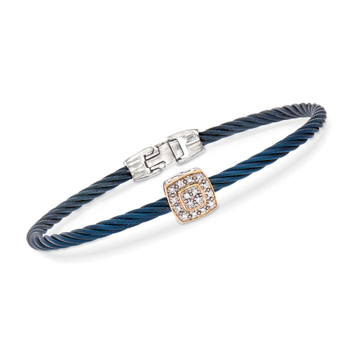 "ALOR ""Shades of Alor"" Blue Carnation Cable Station Bracelet with Diamond Accents in Stainless Steel and 18kt White and Rose Gold . 7"""