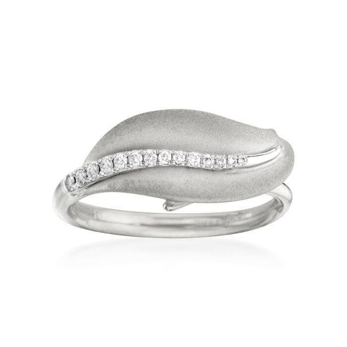 Simon G. 18kt White Gold Leaf Design Ring with Diamonds, , default
