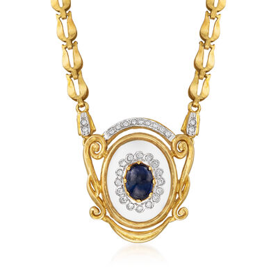 C. 1980 Vintage 1.95 Carat Sapphire, .40 ct. t.w. Diamond and Glass Necklace in 18kt Yellow Gold, , default