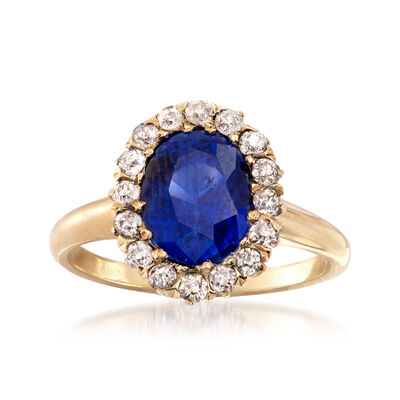 C. 1930 Vintage 2.80 Carat Sapphire and .40 ct. t.w. Diamond Ring in 14kt Yellow Gold