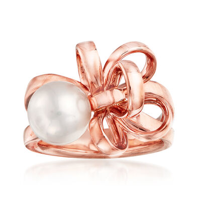 "Mikimoto ""Ribbon"" 8.5mm A+ Akoya Pearl Bypass Ring in 18kt Rose Gold"