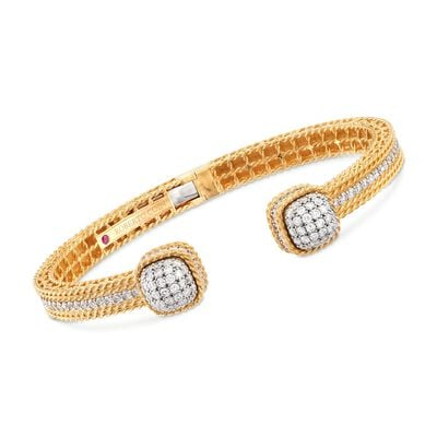 "Roberto Coin ""Barocco"" 2.19 ct. t.w. Diamond Cuff Bracelet in 18kt Yellow Gold, , default"