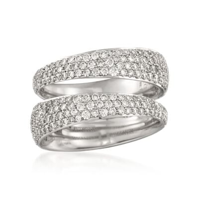 Roberto Coin 1.37 ct. t.w. Tapered Diamond Double Ring in 18kt White Gold, , default
