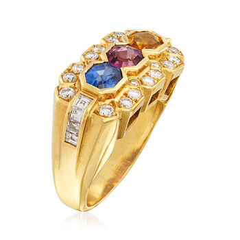 C. 1990 Vintage 2.38 ct. t.w. Multicolored Sapphire and .95 ct. t.w. Diamond Ring in 18kt Yellow Gold. Size 6