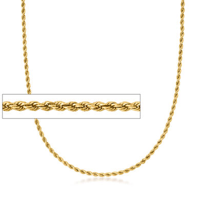 C. 1980 Vintage 14kt Yellow Gold 3mm Rope Chain Necklace