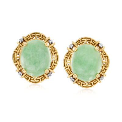 C. 1990 Vintage Jade Greek Key Earrings with Diamond Accents in 14kt Yellow Gold