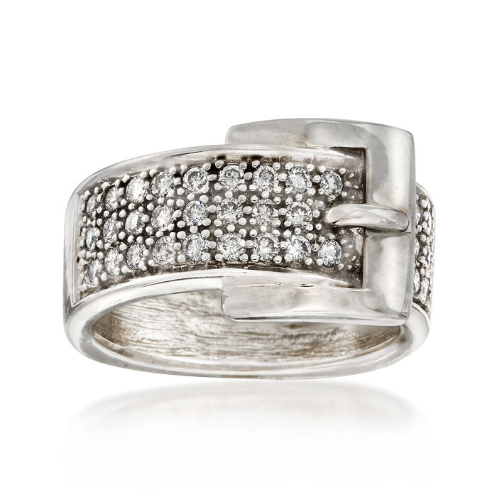 C. 1980 Vintage .80 ct. t.w. Diamond Buckle Ring in 14kt White Gold
