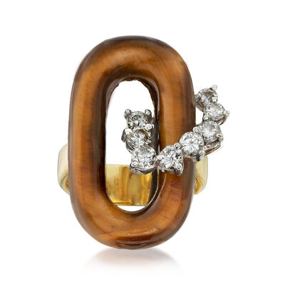 C. 1970 Vintage Tiger's Eye and .65 ct. t.w. Diamond Ring in 18kt Yellow Gold, , default