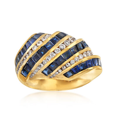C. 1990 Vintage 2.75 ct. t.w. Sapphire and .60 ct. t.w. Diamond Diagonal Row Ring in 18kt Yellow Gold