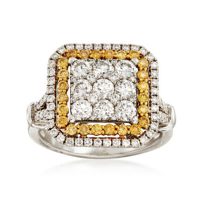 C. 1990 Vintage 2.05 ct. t.w. White and Yellow Diamond Cluster Square, , default