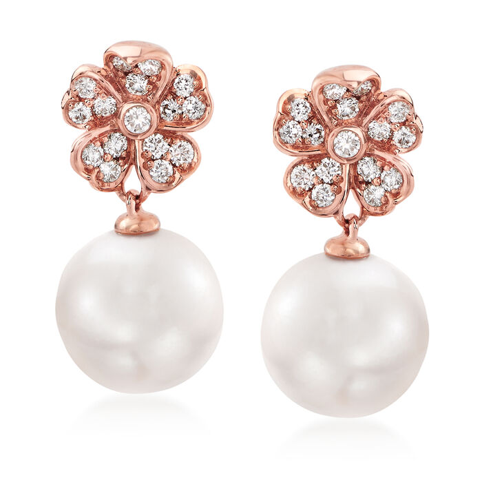 """Mikimoto """"Cherry Blossom"""" 8mm A+ Akoya Pearl and .22 ct. t.w. Diamond Drop Earrings in 18kt Rose Gold"""
