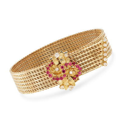 C. 1980 Vintage .50 ct. t.w. Ruby and .45 ct. t.w. Diamond Cluster Mesh Bracelet in 18kt Yellow Gold
