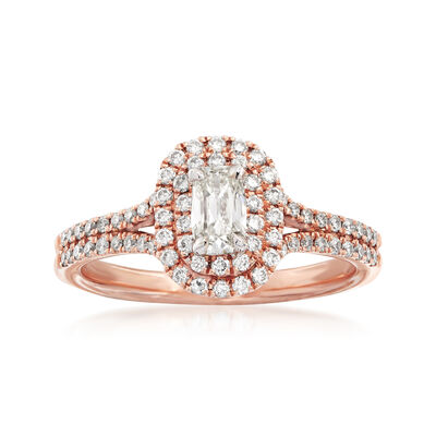 Henri Daussi .80 ct. t.w. Diamond Halo Engagement Ring in 14kt Rose Gold