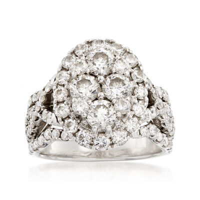 C. 1980 Vintage 3.30 ct. t.w. Diamond Cluster Ring in 14kt White Gold, , default