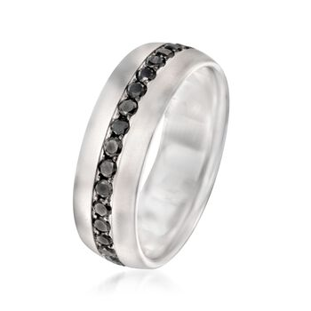 Henri Daussi Men's 1.15 Carat Total Weight Black Diamond Band in 14-Karat White Gold. Size 10, , default