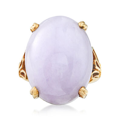 C. 1970 Vintage Lavender Jade Ring in 14kt Yellow Gold, , default