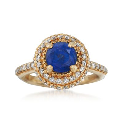 C. 1990 Vintage 2.25 Carat Sapphire and .75 ct. t.w. Diamond Ring in 14kt Yellow Gold, , default