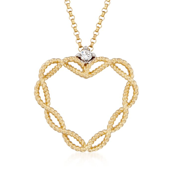 """Roberto Coin Barocco 18-Karat Yellow Gold Heart Necklace with Diamond Accent. 16"""""""