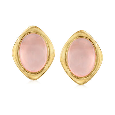 C. 1980 Vintage 31.85 ct. t.w. Rose Quartz Earrings in 14kt Yellow Gold