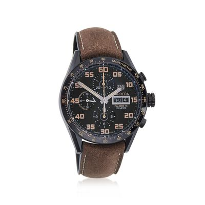 TAG Heuer Carrera Men's 43mm Chronograph Titanium Watch with Brown Aged Leather Strap