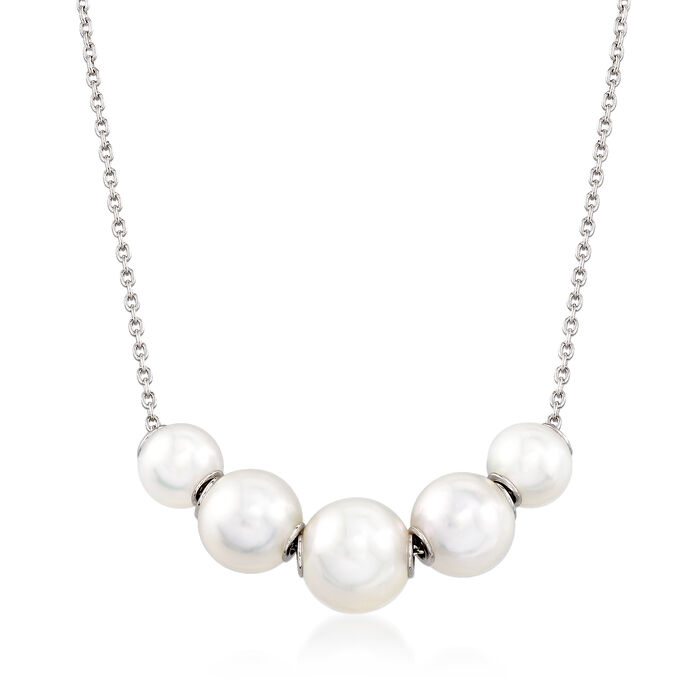 Mikimoto 7.5-5.5mm A+ Akoya Pearl Adjustable Station Necklace in 18kt White Gold