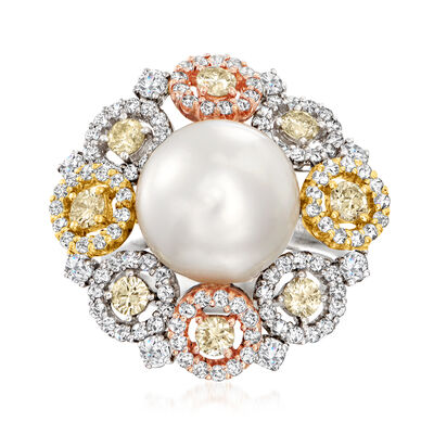 C. 1990 Vintage 11.5mm Cultured Pearl and 2.40 ct. t.w. Multicolored Diamond Ring in 18kt Tri-Colored Gold