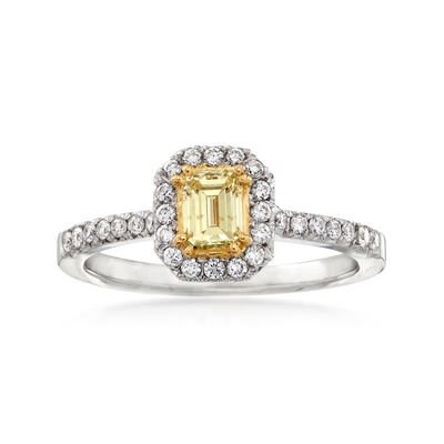 C. 1990 Vintage 1.06 ct. t.w. Yellow and White Diamond Halo Ring in 18kt White Gold