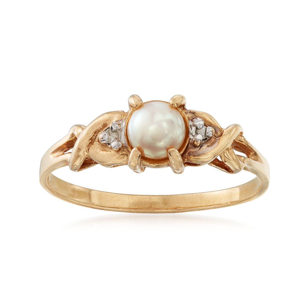 4cdc149f2 C. 1980 Vintage 4.5mm Cultured Pearl Ring with Diamond Accents in 10kt  Yellow Gold