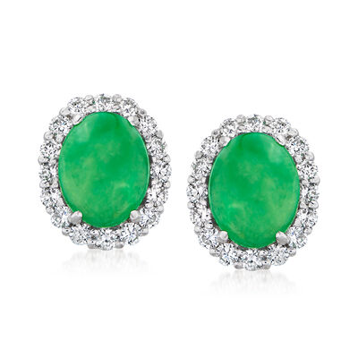 C. 1990 Vintage Jade and 1.00 ct. t.w. Diamond Earrings in 18kt White Gold