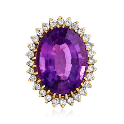 C. 1960 Vintage 21.50 Carat Amethyst and 1.10 ct. t.w. Diamond Ring in 14kt Yellow Gold