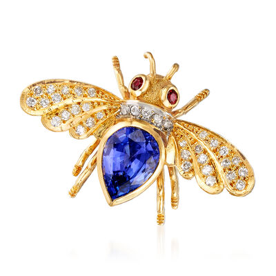 C. 1980 Vintage 3.50 Carat Tanzanite and .45 ct. t.w. Diamond Bee Pin with .10 ct. t.w. Ruby in 18kt Yellow Gold, , default