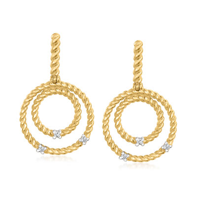 """Phillip Gavriel """"Italian Cable"""" 14kt Yellow Gold Multi-Circle Drop Earrings with Diamond Accents"""