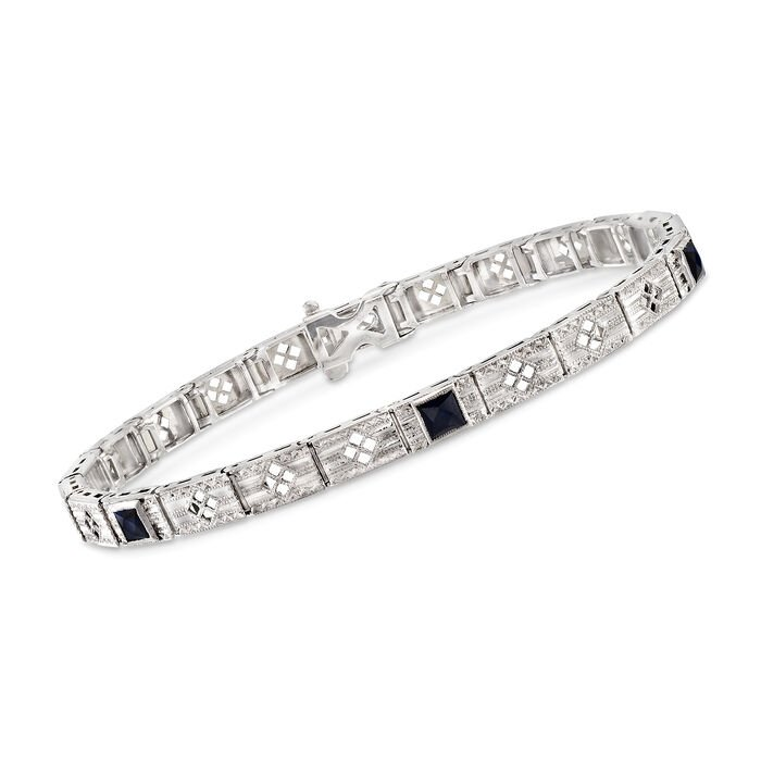 C. 1990 Vintage .50 ct. t.w. Simulated Sapphire Bracelet in 14kt White Gold
