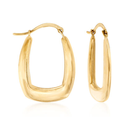 C. 1990 Vintage 10kt Yellow Gold Squared Hoop Earrings