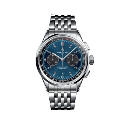 Breitling Premier B01 Chronograph Men's 42mm Stainless Steel Watch - Blue Dial, , default