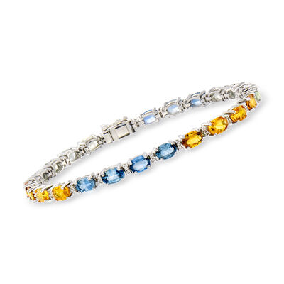 C. 1990 Vintage 8.75 ct. t.w. Multicolored Sapphire and .24 ct. t.w. Diamond Bracelet in 14kt White Gold