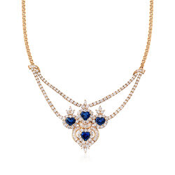 C. 1980 Vintage 11.85 ct. t.w. Diamond and 8.00 ct. t.w. Sapphire Necklace in 18kt Yellow Gold, , default