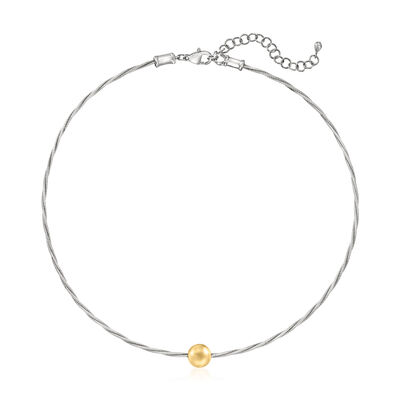 """ALOR """"Classique"""" Gray Stainless Steel Cable Necklace with 14kt Yellow Gold Bead"""