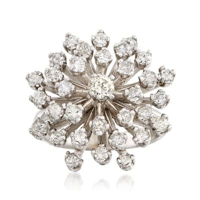 C. 1970 Vintage 1.65 ct. t.w. Diamond Cluster Ring in 14kt White Gold, , default