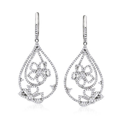 C. 1990 Vintage Giantti 1.79 ct. t.w. Diamond Flower Drop Earrings in 18kt White Gold, , default