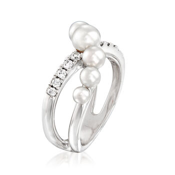 "Mikimoto ""Japan"" 3.25-5.35mm A+ Akoya Pearl and .22 ct. t.w. Diamond Crisscross Ring in 18kt White Gold. Size 7, , default"