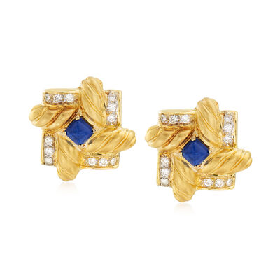 C. 1990 Vintage Lapis and .75 ct. t.w. Diamond Pinwheel Clip-On Earrings in 18kt Yellow Gold, , default