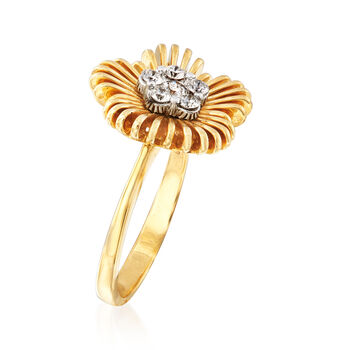 Simon G. .22 ct. t.w. Diamond Flower Ring in 18kt Yellow Gold, , default