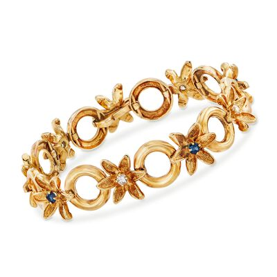 C. 1990 Vintage .75 ct. t.w. Sapphire and .40 ct. t.w. Diamond Floral-Link Bracelet in 18kt Yellow Gold, , default