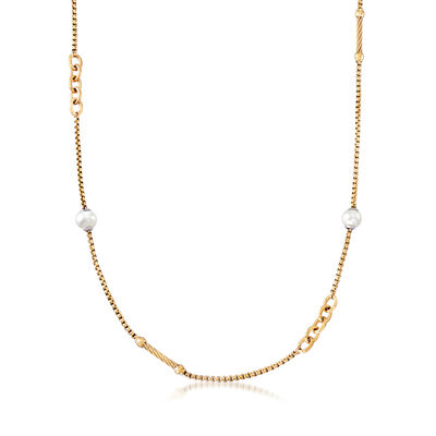 "ALOR ""Chain Reaction"" Cultured Pearl Yellow-Hued Stainless Steel Necklace, , default"